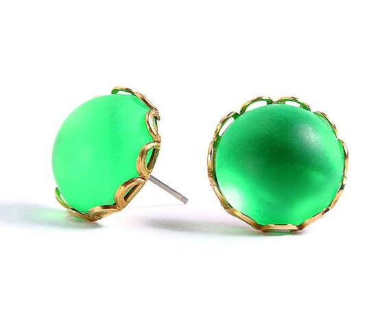 Sale Clearance 20% OFF - Matte frost green hypoallergenic surgical steel post earrings READY to ship (410)