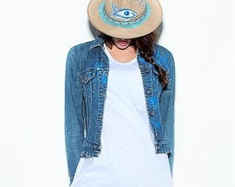 Straw hats,Evil eye on hat,Hats in handmade,Womens hats,Linen hats,Handpainted hats,Evil eye,Gift for her,Christmas gift,Summer hat,Sun hat