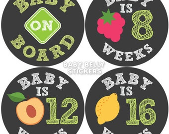 Pregnancy Stickers, Maternity Stickers, Belly Stickers, Belly Bump Sticker, Weekly Pregnancy Sticker, Pregnancy Milestone