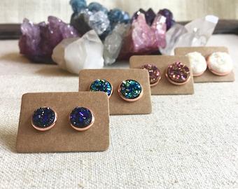 Galilea Earring Set - Four Pairs Druzy Earrings - Rose Gold Setting - Opal White, Aurora Pink, Midnight Purple, Peacock Green - Gift Ideas