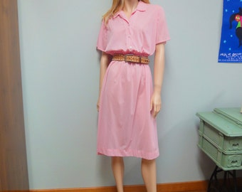 Vintage 60s Penneys Nylon Dress, Brentwood Frocks, Gingham Shirt Waist in Pink and White Size Large