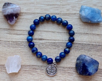 Lapis Lazuli Mala Bracelet - Healing Crystals for Creativity and Self-Confidence
