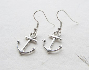 Anchor earrings, nautical earrings, anchor jewelry
