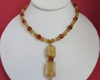 Amber Glass Necklace - Vintage Glass Pendant Necklace, Boho Beaded Jewelry, Amber & Gold Necklace