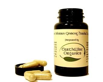 Siberian Ginseng Eleuthero Capsules 350 mg Herbalist Prepared From Certified Organic Herbs