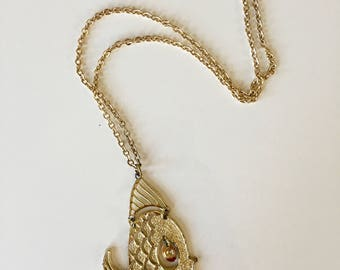 vintage fish necklace - ANGEL FISH articulated novelty jewelry pendant