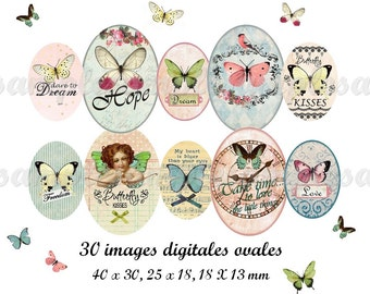 Butterflies Digital collage sheet Oval for pendant 30x40 mm, 18x25 mm,13x18 mm, printable images butterfly, instant download