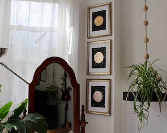 Sun Moon and Star - Set of Three Original Art Metallic Paintings Gold Silver Copper Shiny Golden Silvery Day and Night Sky Abstract Artwork