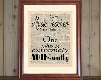 Music Teacher Dictionary Print, Music Teacher Quote, Music Teacher Gift, Classroom Wall Art, Music Teacher Print on 5x7 or 8x10 Canvas Panel