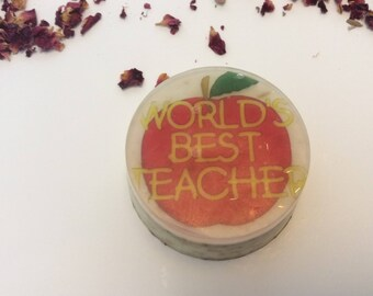 World's best teacher handmade organic soap, perfect gift for you favorite teacher