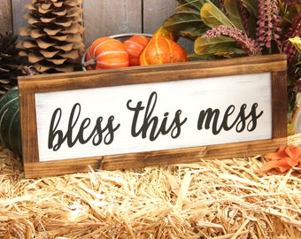 Bless This Mess Sign Rustic Decor Entryway Sign Dorm Decor Sign Farmhouse Sign Magnolia Farms Sign Magnolia Market Sign Joanna Gaines Sign