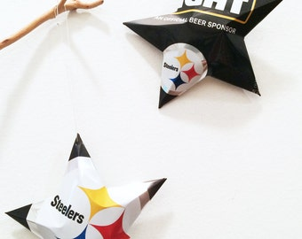 Bud Light Pittsburgh Steelers Beer Stars Christmas Ornaments Aluminum Can Upcycled Budweiser