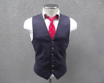Vintage Navy Cashmere Wool Waistcoat / Navy Blue Cashmere Vest Size 40 Medium / Mens Navy Vest / Wedding / Mens Navy Waistcoat / Mens Vest