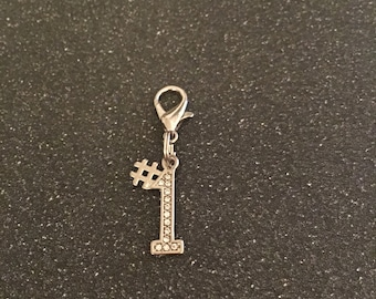 Number one zipper charm