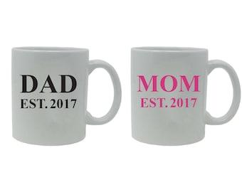 Dad + Mom Established EST. 2017 White Ceramic Coffee Mug Set - Great Gift for Expecting Parents