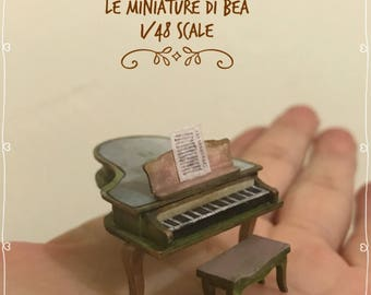 1/48 victorian piano and bench gand made in wood by Bea dollshouse miniatures