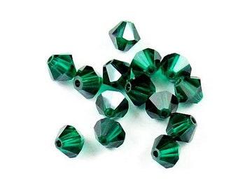 4mm Emerald Satin Bicone 5301 5328 Bead, Swarovski crystal, Crystal Passions®, 4mm Emerald Satin Bicone 5301 5328