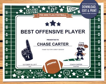 Football certificates templates youth football kid instant download football award certificate editable pdf instant download printable football certificates yadclub Choice Image