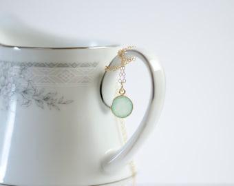 Mint Necklace | Gold Filled | Aqua Mint Chalcedony Bezel | Sea Foam Green | Everyday Simple Gemstone Pendant Necklace | Beach Wedding