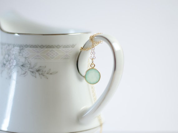 Mint Necklace | Gold Filled | Aqua Mint Chalcedony Bezel | Sea Foam Green | Everyday Simple Gemstone Pendant Necklace | Beach Wedding