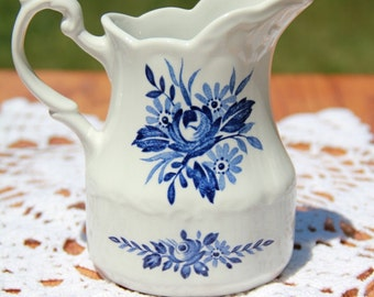 Dresden Blue Creamer by J&G Meakin - Made in England - Blue and White Kitchen Decor - Milk Pitcher - Coffee Creamer