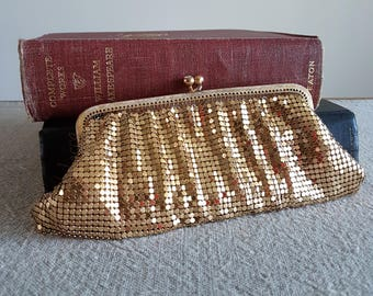Gold mesh evening bag, excellent condition // gold metal clutch purse, formal wear, rhinestone clasp, peach satin, Hudson's Bay, accessories