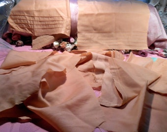 Antique Fabric Peach Silk Remnant Lot