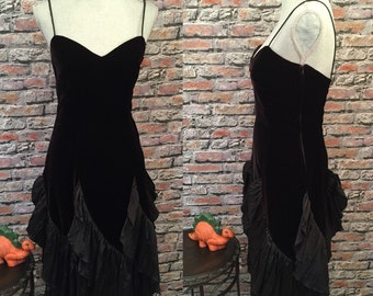 Vintage Black Velvet With Taffata Ruffle Dancing Dress  Size 6