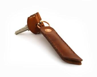 Leather Key Ring - Saddle Tan