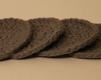 Handmade Crocheted Gray Coasters - Set of 4