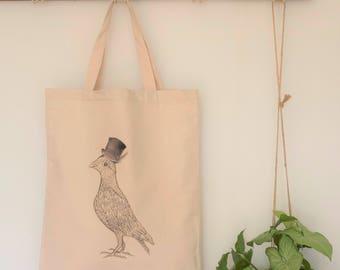 pigeon bag, pigeon lover gift, funky tote bag, cool bird bag, vegan bag, market bag, tote bag, bird tote bag