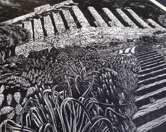 The Temple of Hera and Juno | Original handmade linocut print | Black and white | Ruin landscape | Limited edition art