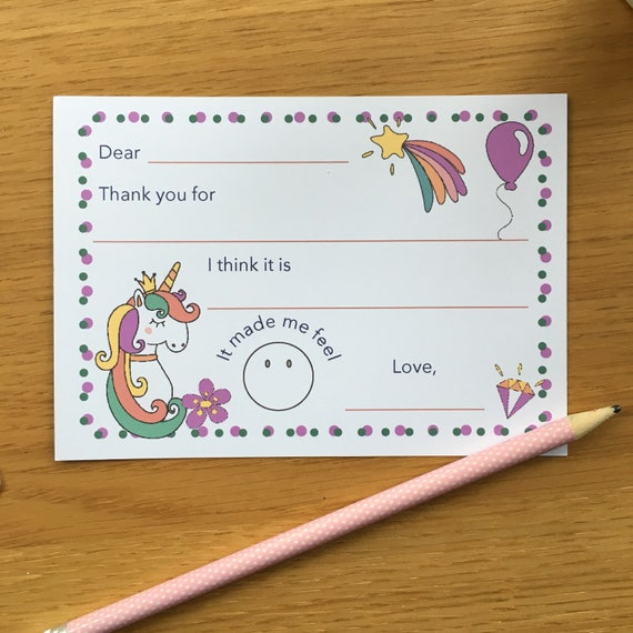 unicorn thank you notes easy thank you cards kids thank you