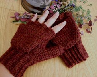 Red Wool Convertible Mittens - Chestnut Wool Convertible Mittens - Red Wool Glittens - Chestnut Wool Glittens - Red Fingerless Mittens