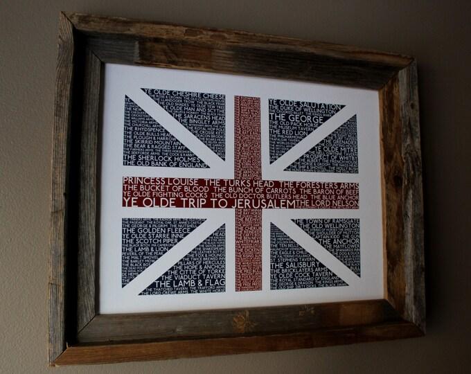 British Pubs Union Jack Flag Print - Unframed