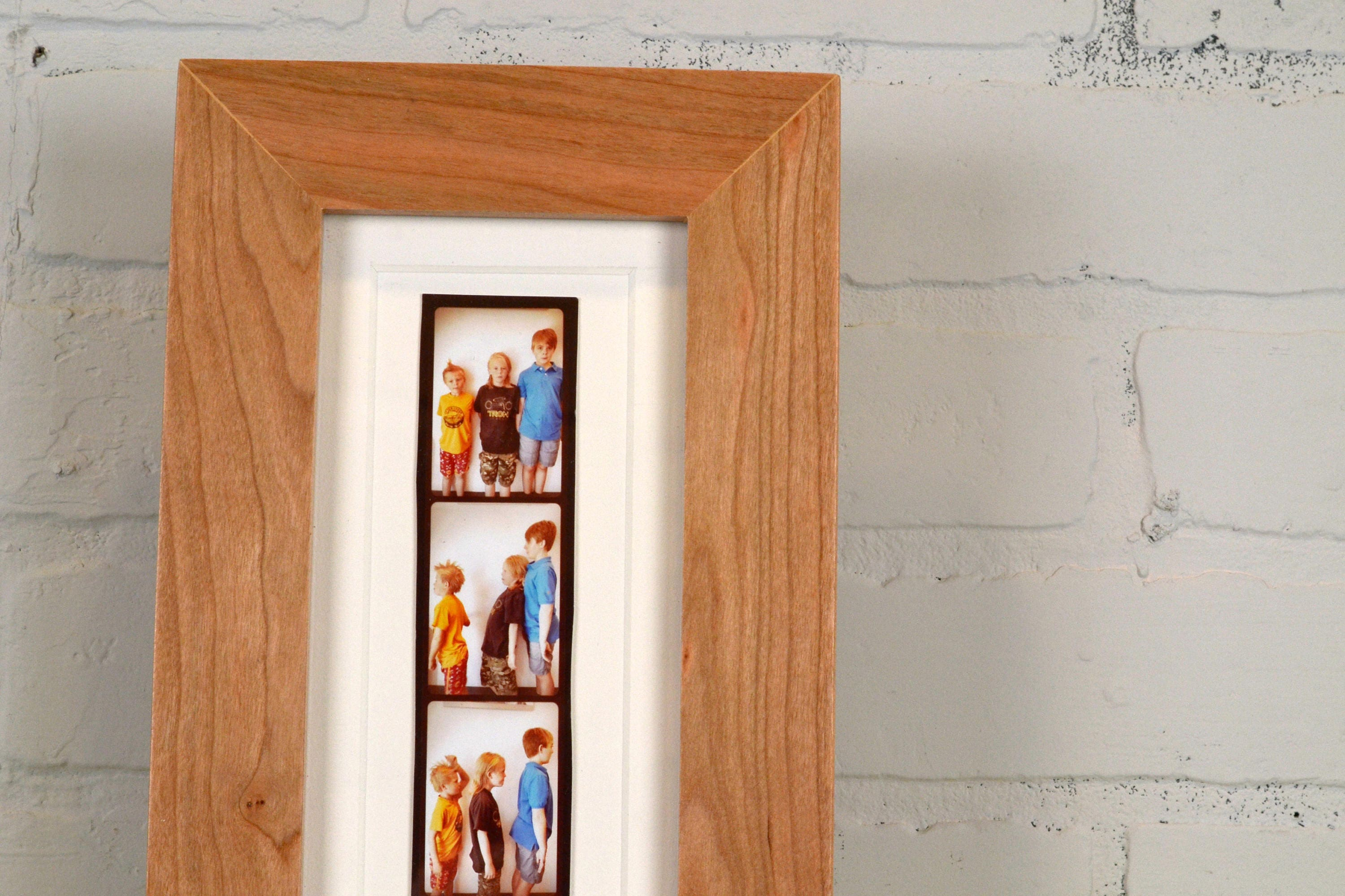 4x10 Picture Frame for Photo Booth Strip in 1.5 inch Solid Natural ...