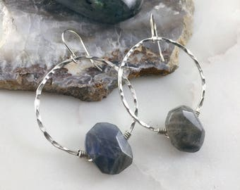 labradorite polished nugget set on sterling silver