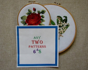 2 Patterns - Set of 2 Patterns - 6.6 Dollars USD - Modern cross stitch pattern PDF