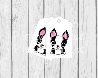 Dog Gift Tags Birthday Favor Gift Thank You Tags Boston Terrier Gift Tags Wrapping Package Labels - set of 10