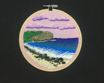 Shipwreck Beach with Sunset Clouds embroidery 5 inch hoop