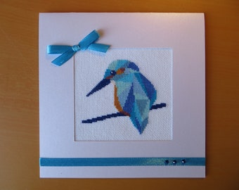 Hand embroidered card: modern Kingfisher