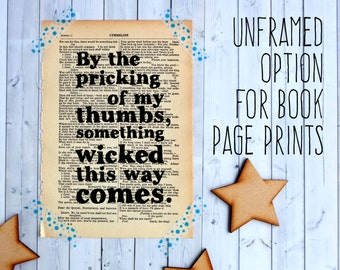 Choose Any Quote - Bookishly Quotes -  Typographic Art - Vintage Book Page - Unframed Print - Book Lover - Unframed Quotes - Literary Gifts