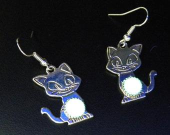 Glow in the Dark Cat Earrings Handmade Glow Jewelry (SYB23)