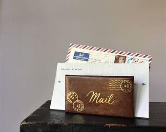 Christmas Card Holder, Vintage Letter Organizer, Faux Leather Mail Sorter, Desktop Correspondence Rack, December 25 Providence Rhode Island