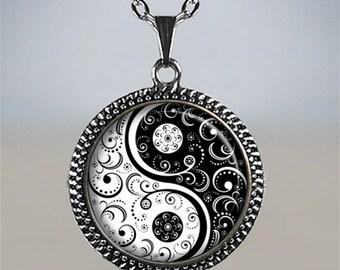 Black and White Yin Yang necklace, Yin Yang jewelry, Zen jewelery, yoga pendant, yoga jewelry yin yang pendant symbolic spiritual jewelry