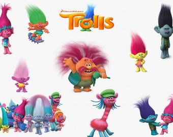 TROLLS MOVIE CLIPART, 23 High Quality Png Images with Transparent Backgrounds, 300 dpi