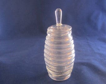 Glass Ribbed Honey Jar
