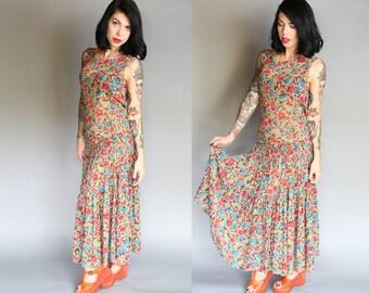 Vintage 80's does 20's Silk Chiffon Flapper Dress | L