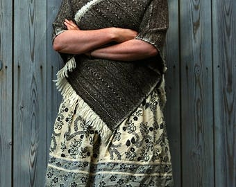 Dark brown and cream rugged wool poncho robustly handwoven in Devon, England