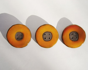 Orange Ceramic  Buttons, Large Round buttons, Handmade Stoneware Buttons, Sewing Supplies
